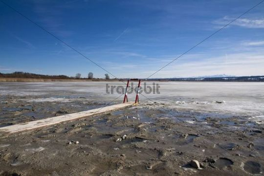 Rescue sled for the rescue of people who have broken into the ice on the frozen Gnadensee lake, on the horizon the Alpsteingebirge mountains with Mt. Saentis winter, Lake Constance, Landkreis Kons