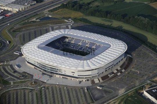 Aerial view of Stadion Hoffenheim stadium, Baden-Wuerttemberg, Germany, Europe