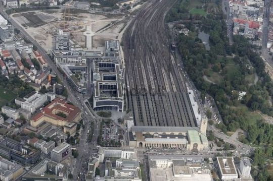 Aerial view of downtown Stuttgart, main train station in 2009, before the conversion to Stuttgart 21, Baden-Wuerttemberg, Germany, Europe