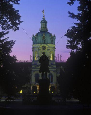 Schloss Charlottenburg castle, blue hour, evening, illuminated, Charlottenburg district, Berlin, Germany, Europe