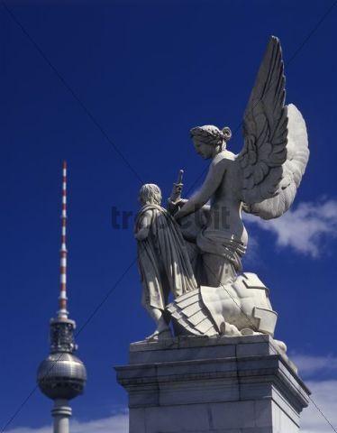 Figure of the Schlossbruecke bridge and Alexanderplatz square, Unter den Linden, Mitte district, Berlin, Germany, Europe