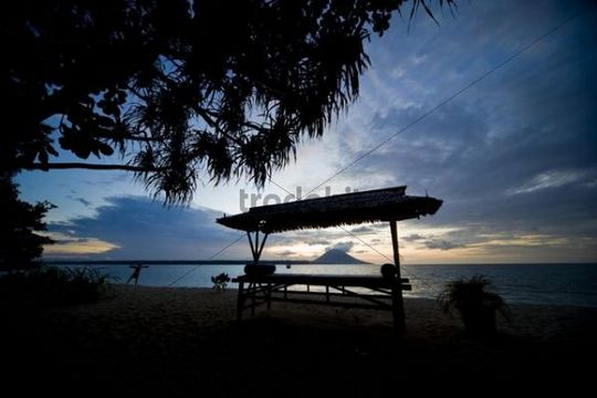 Silhouette of a sunbed, Siladen island, Sulawesi, Indonesia, Southeast Asia