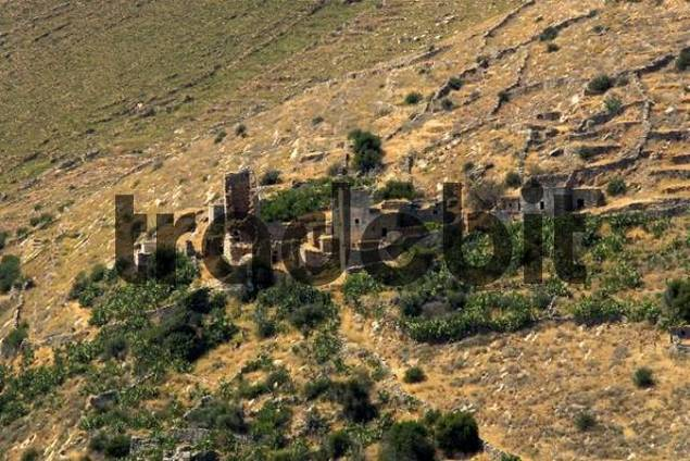 Towerhouses, deserted village near Vathia, Mani peninsula, Peloponnese, Greece