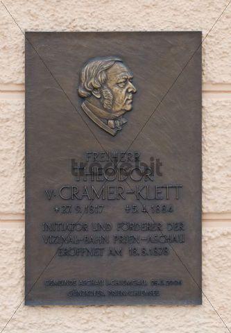 Memorial plaque to the baron Theodor von Cramer-Klett, Guenzkofer, Prien, Chiemsee, Bavaria, Germany, Europe