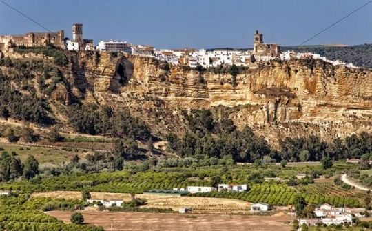View towards the historic town centre of Arcos de la Frontera, Andalucia, Spain, Europe