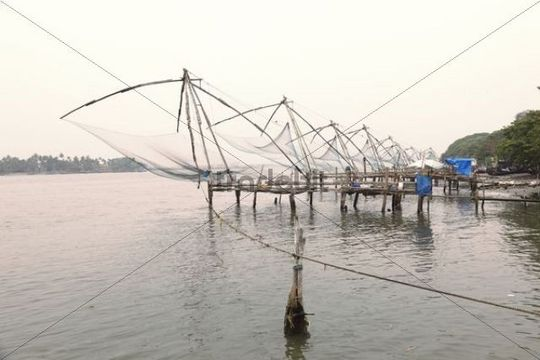 Chinese fishing nets, Kochi, Fort Cochin, Kerala, South India, South Asia