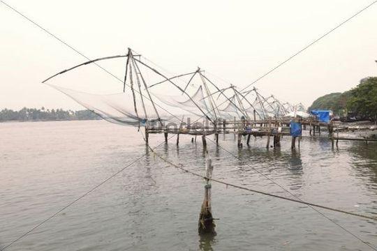 Chinese fishing nets, Kochi, Fort Cochin, Kerala, South India, South Asia