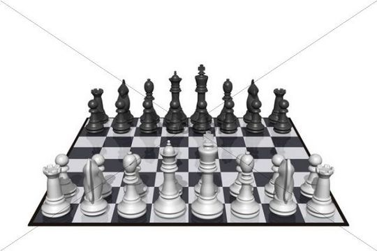 Chess figures on chess board, 3D Illustration