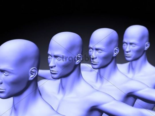 Human clones, symbolic picture, 3D Illustration