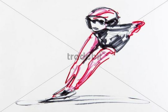 Drawing, speed skating, artist Gerhard Kraus, Kriftel