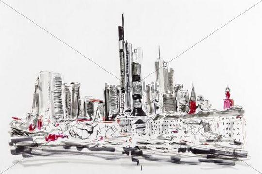 Drawing, artist, Gerhard Kraus, skyline of Frankfurt, Hesse, Germany, Europe