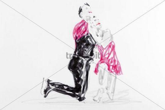 Drawing, figure skating, artist Gerhard Kraus, Kriftel