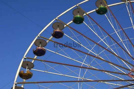 Empty gondolas of a Ferris wheel, Mecklenburg-Western Pomerania, Germany, Europe