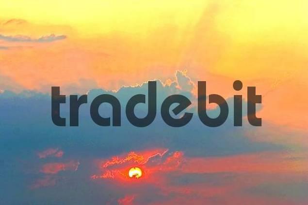sunset, sky, clouds, mood
