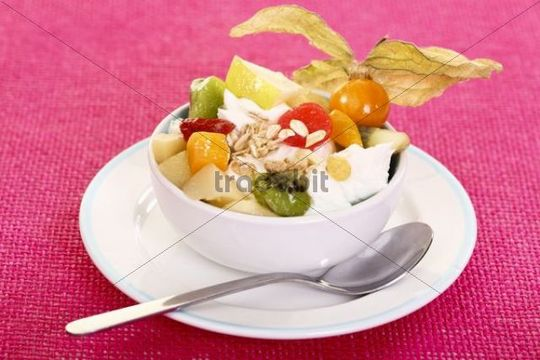 Exotic fruit salad made of various fruits with yogurt in a bowl