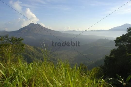 Mountain landscape, extinct volcano Batur and lake, view from Penelokan, Bali, Indonesia, Southeast Asia, Asia