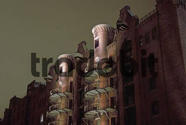 Illuminated warehouses at Hamburger Speicherstadt Germany
