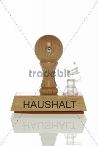 """Stamp with the word """"Haushalt"""", budget with an open valve, symbolic image for a budget running out of air"""