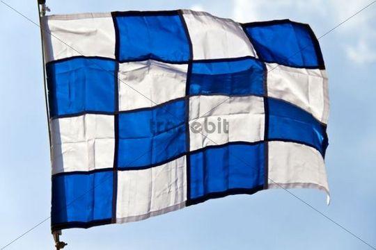 Signal flag for the letter N, international maritime signal flag, international code of signals