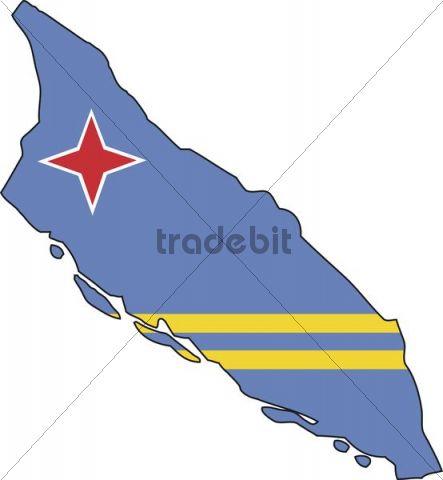 Aruba, flag, outline