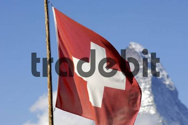 Matterhorn and Swiss flag, Zermatt Switzerland