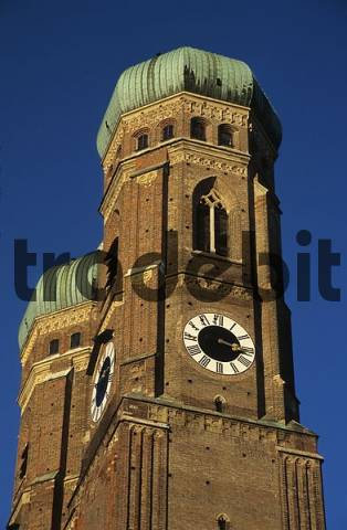 Towers of the Frauenkirche at Munich Bavaria Germany