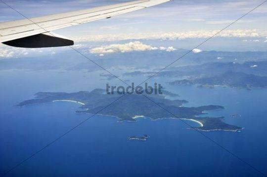 Aerial view from a plane, resort island of Ilha Grande, Costa Verde, Rio de Janeiro, Brazil, South America