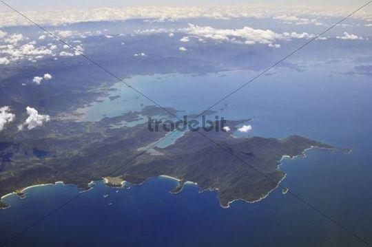 Aerial view, Costa Verde coast with the resorts of Paraty and Trindade, Rio de Janeiro, Brazil, South America