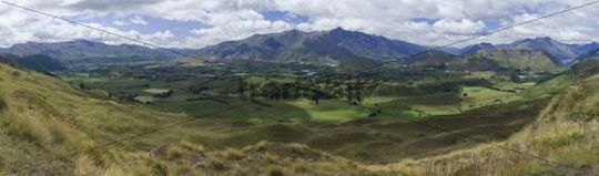 Panoramic view of the valley of Frankton with the Remarkables Mountain Range at back, Queenstown, Otago, South Island, New Zealand, Oceania