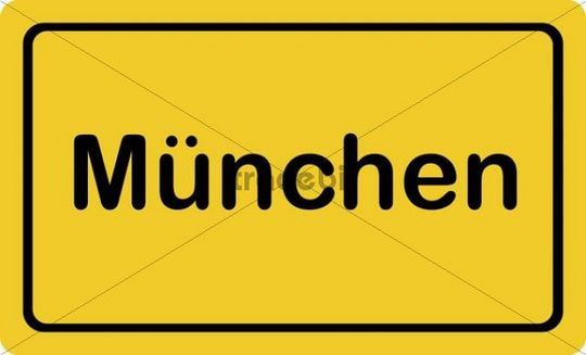 """Place-name sign """"Muenchen"""", Munich"""