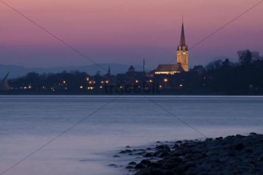 Unserer Lieben Frau Cathedral in Radolfzell, in the afterglow, Baden-Wuerttemberg, Germany, Europe