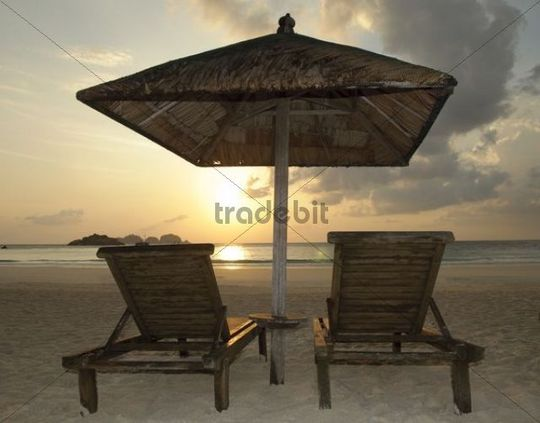 Two beach chairs at sunrise, Pulau Redang Island, Malaysia, Southeast Asia, Asia
