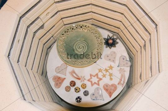 Fired ceramic items in a kiln, Geisenhausen, Bavaria, Germany, Europe