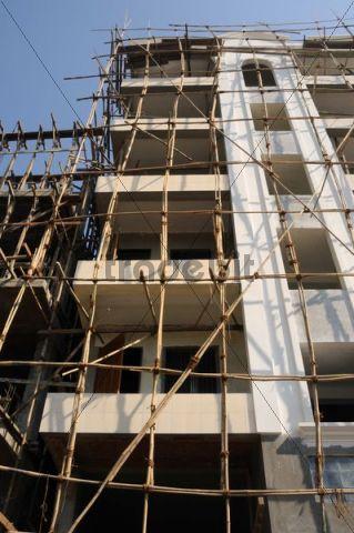 Bamboo scaffolding on a building, Yangon, Rangun, Myanmar, Burma, Southeast Asia