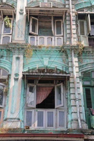 Colonial House Facade In The Old Town Yangon Rangoon