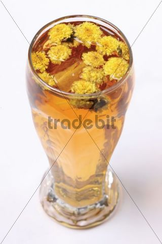 Drink with chrysanthemum flowers
