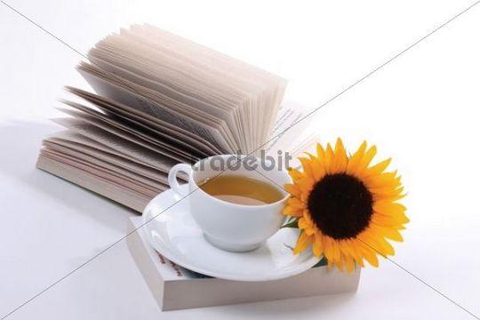 Cup of tea, books, sunflower
