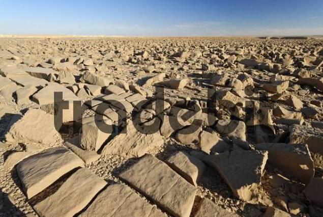 rocky desert on top of Djol plateau, Yemen