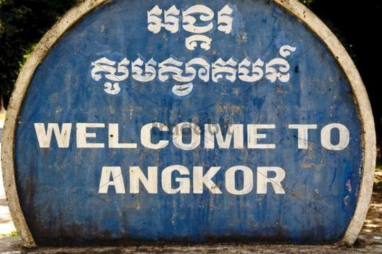 Welcome sign, Angkor Wat temple complex in Siem Reap, Cambodia, Southeast Asia