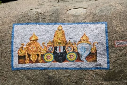 Painting on a rock, Hampi, Karnataka, India, Asia