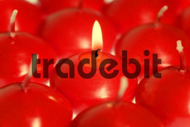 lit red candled