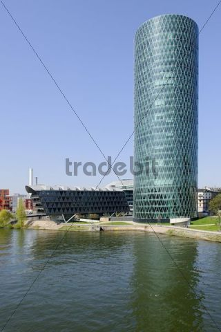 Westhafen Tower, office building, OFB, modern architecture, Westhafenplatz, Frankfurt am Main, Hesse, Germany, Europe
