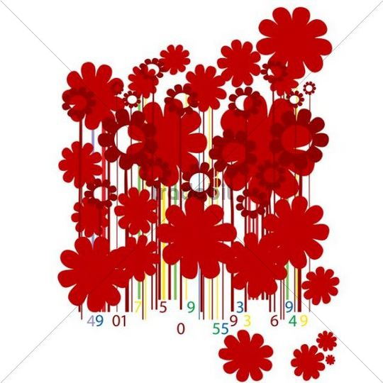 Abstract design with flowers and bar codes, illustration