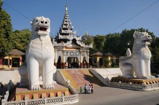 Entrance with typical mythical lions, Chinthe, on Mandalay Hill, Mandalay, Myanmar, Burma, Southeast Asia