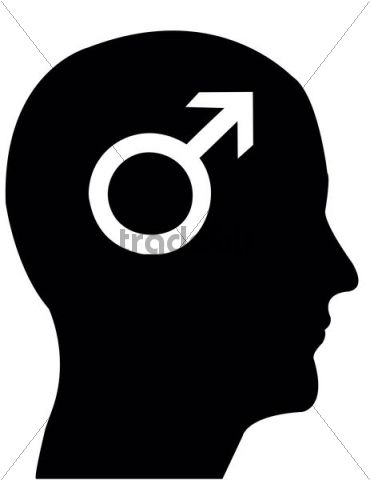 Head in profile with the symbol of Mars, male gender, illustration
