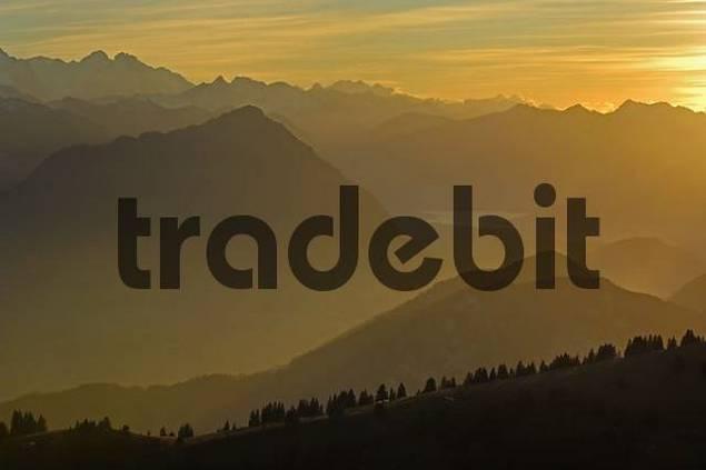 sunset onf the Rigi with view of Inner Switzerland, Schwyz, Switzerland