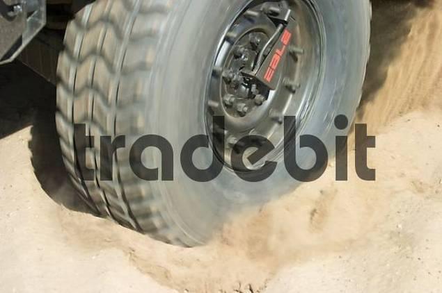 tire paws through dust
