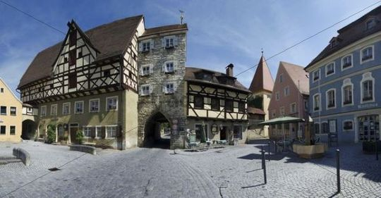 Historic centre of Berching, Upper Palatinate, Bavaria, Germany, Europe