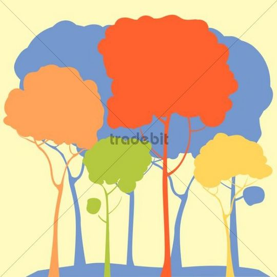 Pastel forest illustration, stylized trees