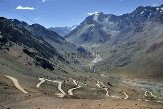 Winding road in the Andes near Mendoza, Argentina, South America
